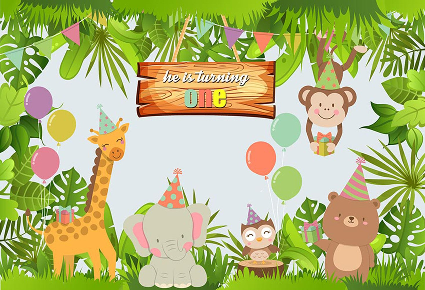 Zoo clipart backdrop clip black and white stock Party Photography Backdrops Kids Vinyl Photography For Backdrop Animals  Printed Photo Backgrounds For Photo Studio clip black and white stock