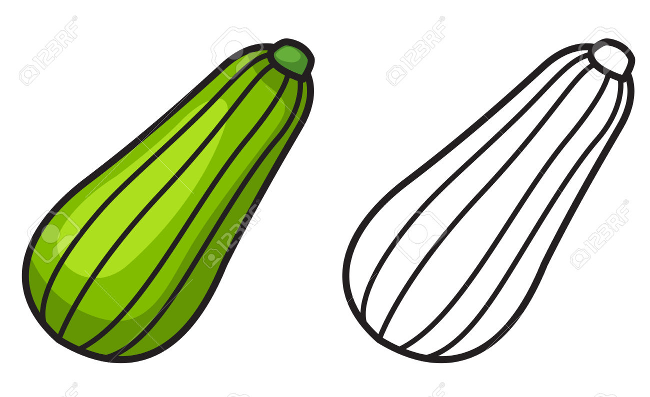 Zucchini clipart black and white clip transparent download Illustration Of Isolated Colorful And Black And White Zucchini ... clip transparent download